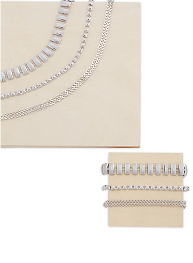 Glitter And Studded Necklace and Bracelet Set,SILVER,large