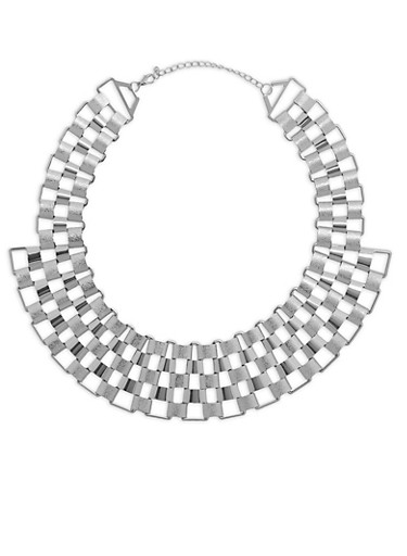 Glitter Metallic Necklace,SILVER,large