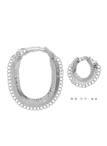 Metallic Chain Necklaces and Stud Earrings Set,SILVER,large