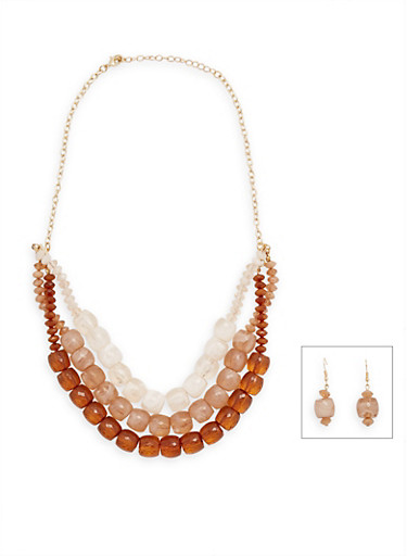 Multi Layer Beaded Necklace and Earring Set,BROWN,large