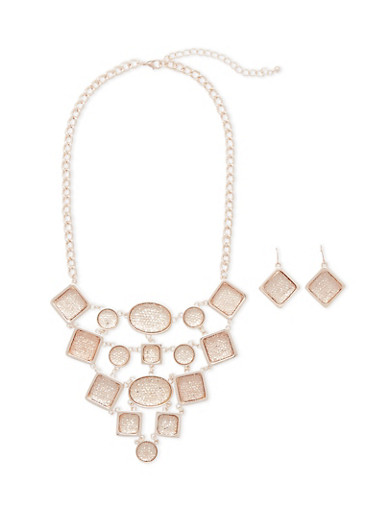 Crystal Bib Necklace and Earrings Set,ROSE,large
