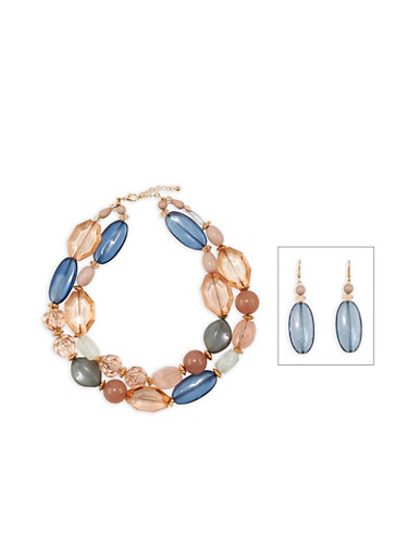 Large Stone Necklace with Matching Drop Earrings at Rainbow Shops in Daytona Beach, FL | Tuggl