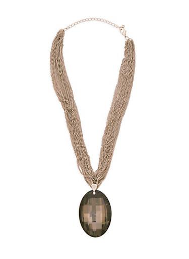 Multi Layer Chain Rhinestone Pendant Necklace,BLACK,large