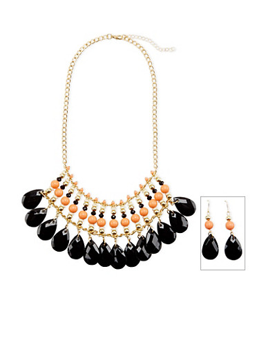 Multicolored Stone Necklace and Drop Earrings Set,GOLD,large
