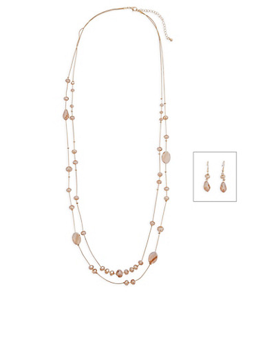 Beaded Necklace and Earrings Set,GOLD,large