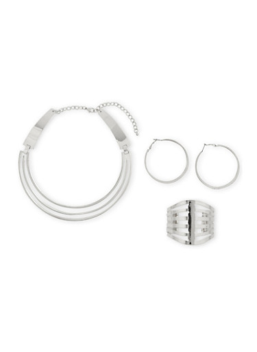 Hoop Earrings with Coil Necklace and Cuff Bracelet Set,SILVER,large