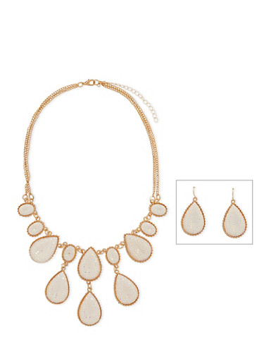 Statement Necklace and Earrings with Tear Drop Stones,IVORY,large