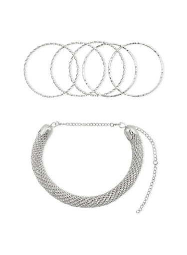 Collar Necklace with 5 Bangles and Stud Earrings Set,SILVER,large
