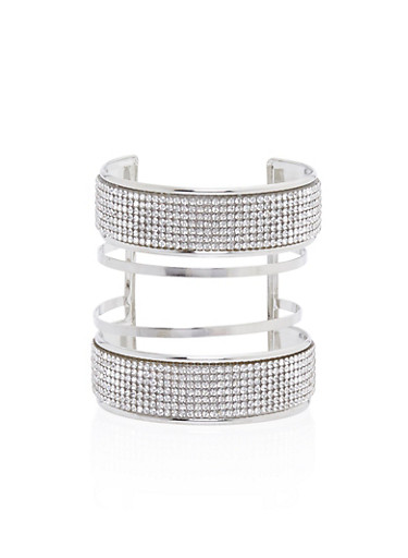 Multi Band Cuff Bracelet with Crystal Accents,SILVER,large