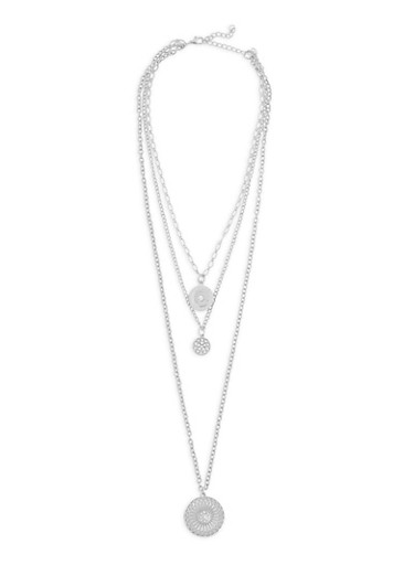 Round Layered Rhinestone Necklace,SILVER,large