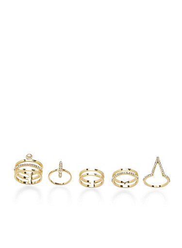 Set of 5 Assorted Geo Rings with Rhinestones,GOLD,large