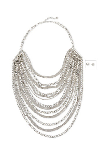 Multistrand Necklace and Earrings Set,SILVER,large