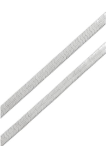 Flat Metallic Layered Chokers,SILVER,large