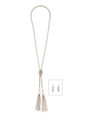 Knotted Rope Chain Tassel Necklace and Earrings,SILVER,large