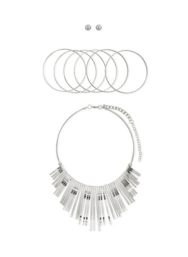 Collar Necklace with 6 Bangles and Stud Earring Set,SILVER,large
