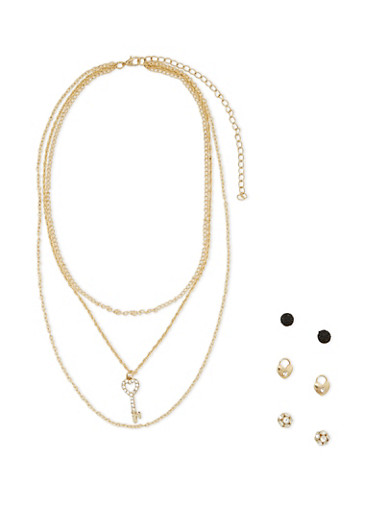 Stud Earrings and Layered Necklace Set,GOLD,large