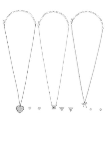 Bow Heart Layered Necklace,SILVER,large