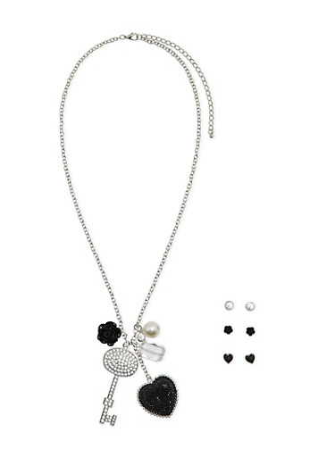 Assorted Stud Earrings and Charm Necklace Set,SILVER,large