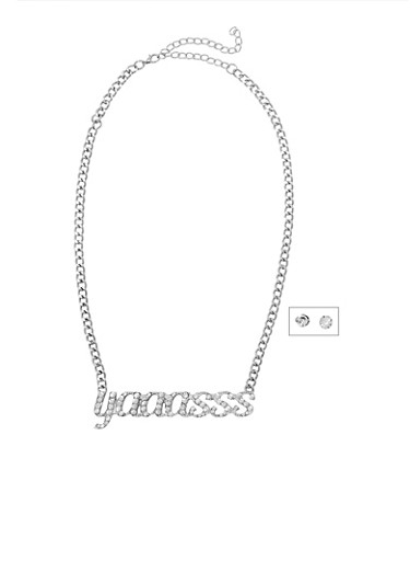 Yaaasss Curb Chain Necklace and Stud Earrings Set,SILVER,large