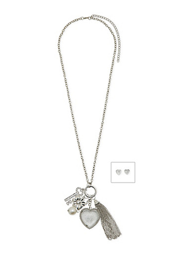 Heart Stud Earrings and Charm Necklace Set,SILVER,large