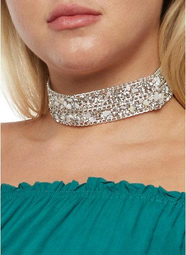 Rhinestone Beaded Choker Necklace,SILVER,large