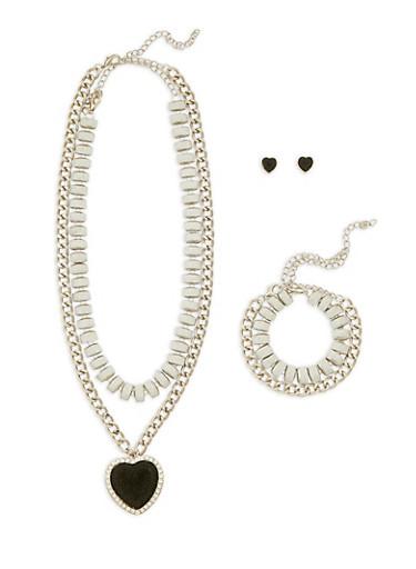 Glitter Heart Choker and Bracelet with Stud Earrings Set,SILVER,large