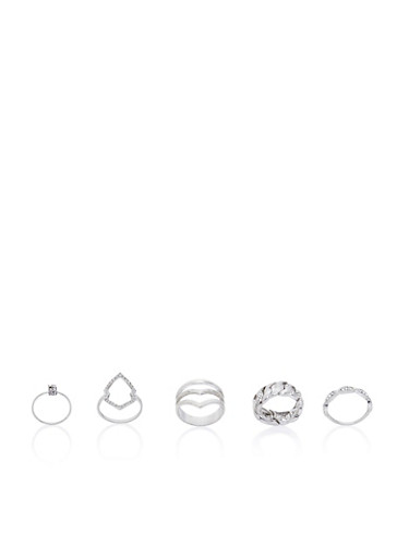 Set of 5 Rings with Crystal Accents,SILVER,large