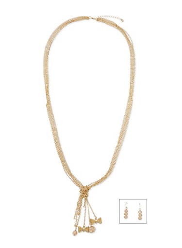 Dangle Charm Necklace and Earrings Set,GOLD,large