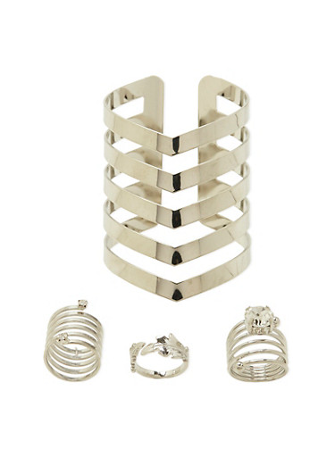 3 Multi Strand Rings and Cuff Set,SILVER,large