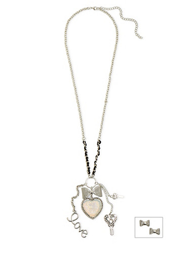 Bow Earrings and Charm Necklace Set,SILVER,large