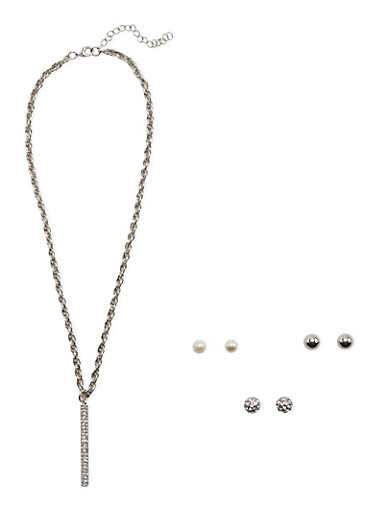 Set of 3 Stud Earrings and Necklace with Tassel Detail,SILVER,large