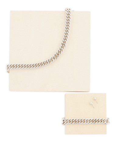Curb Chain Necklace with Bracelet and Stud Earrings,SILVER,large