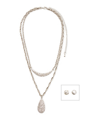 Tiered Necklace and Crystal Stud Earrings Set,SILVER,large