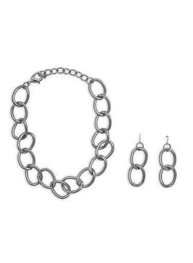 Chunky Chain Necklace and Matching Earrings Set,SILVER,large
