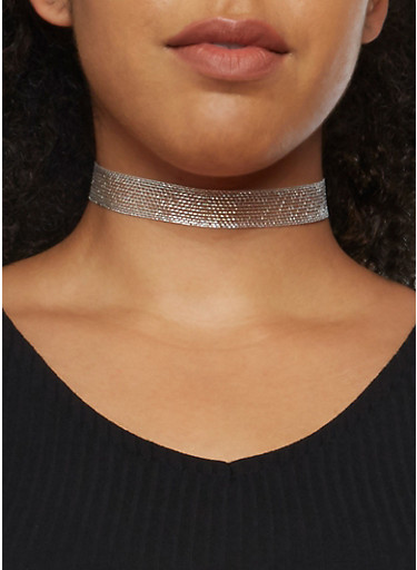 Tiered Triangle Necklace and Earrings with Choker,SILVER,large