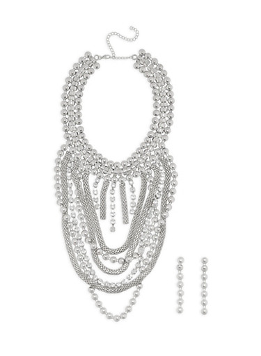 Jumbo Metallic Mesh Necklace and Drop Earrings,SILVER,large