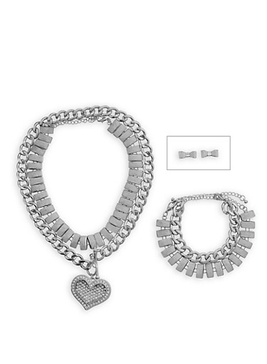 Glitter Chain Choker with Bracelet and Bow Stud Earrings Set,SILVER,large