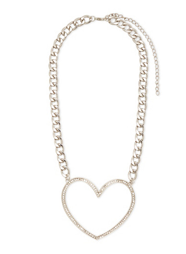 Large Rhinestone Heart Chain Necklace,SILVER,large