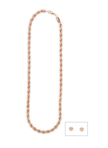 Chunky Metallic Rope Necklace,ROSE,large