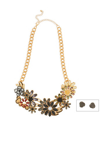 Rhinestone Floral Chain Necklace and Stud Earrings,TAUPE,large