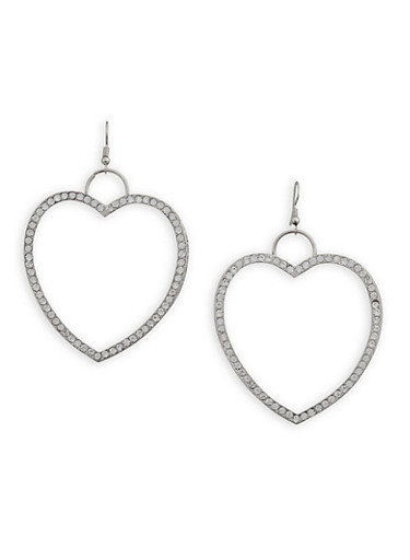 Roman Numeral Rhinestone Heart Earrings,SILVER,large