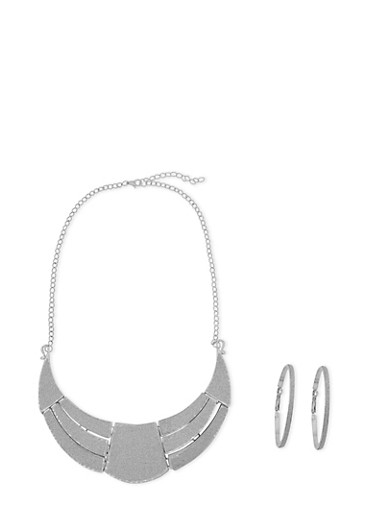Glitter Hoop Earrings and Geo Necklace Set,SILVER,large
