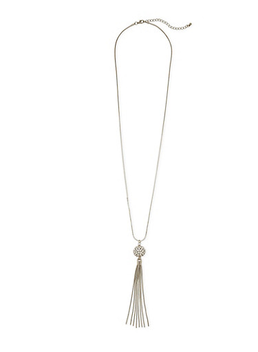 Necklace with Studded Ball and Tassels Pendant,SILVER,large