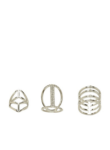 Set of 3 Rings with Crystal Accents,SILVER,large