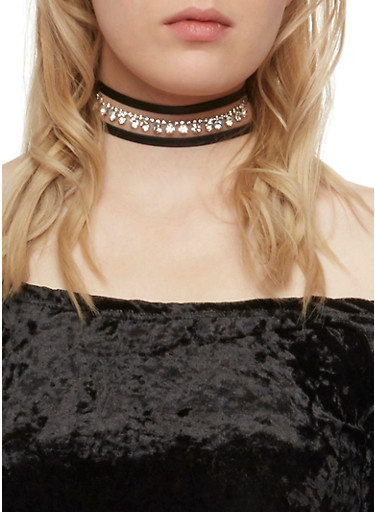 Crystal Choker Necklace with Faux Leather Ties,SILVER,large