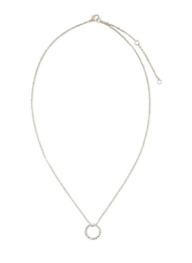 Necklace with Studded Circle Pendant,SILVER,large