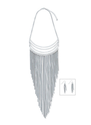 Tiered Chain Fringe Necklace and Earring Set,SILVER,large