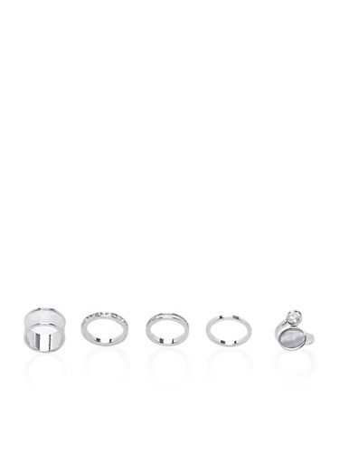 Set of 5 Assorted Rings,SILVER,large