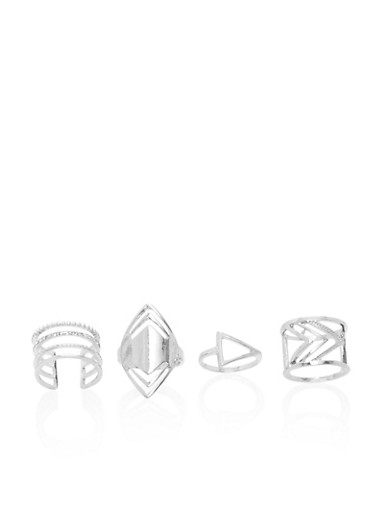 Set of 4 Geo and Long Rings with Rhinestones,SILVER,large