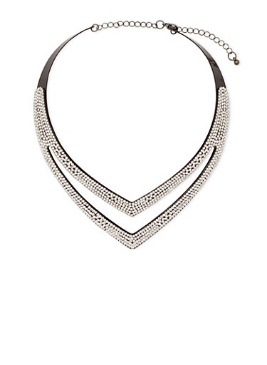 Studded Collar Necklace,BLACK,large